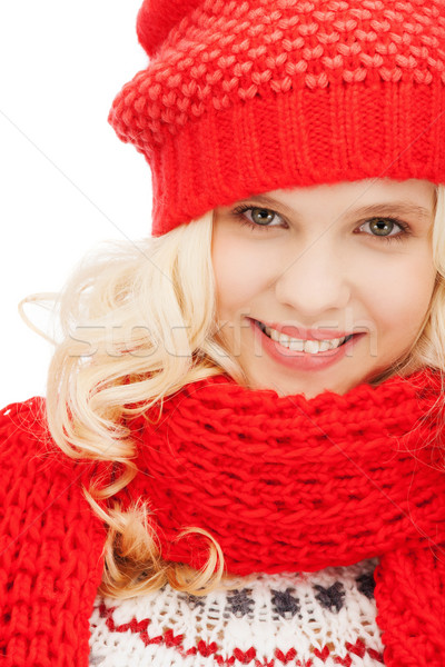 teenage girl in red hat and scarf Stock photo © dolgachov
