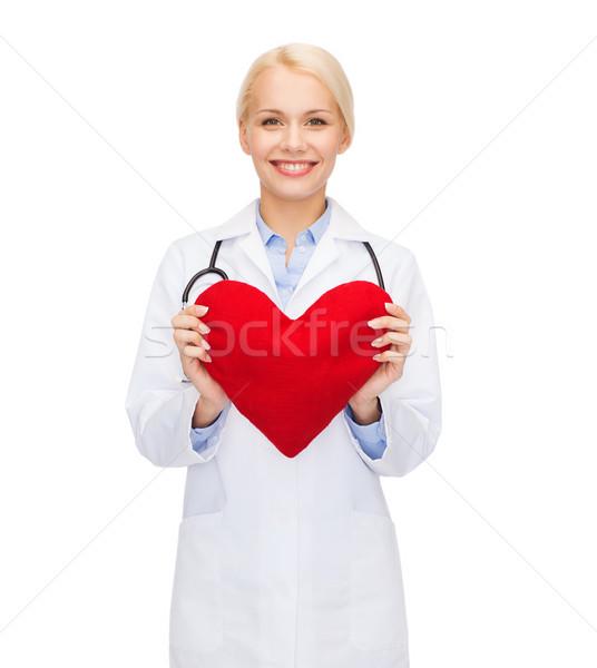 Stok fotoğraf: Gülen · kadın · doktor · kalp · stetoskop · sağlık