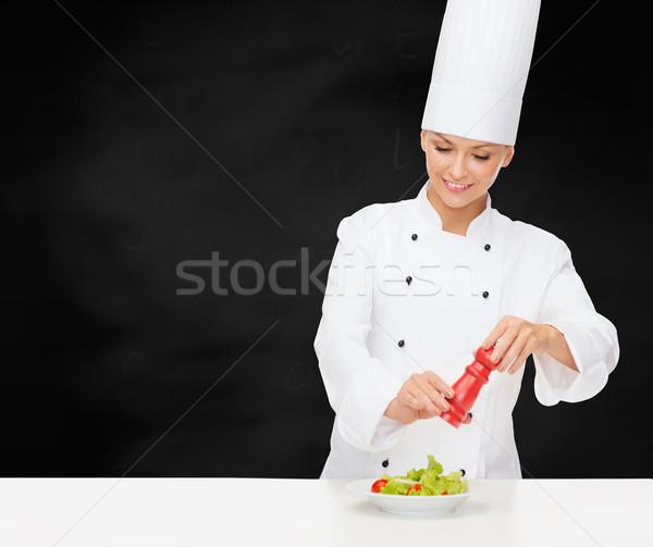 笑みを浮かべて 女性 シェフ サラダ 料理 食品 ストックフォト © dolgachov