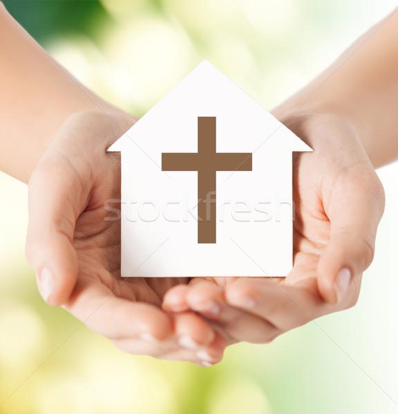 Közelkép kezek papír ház kereszt vallás Stock fotó © dolgachov