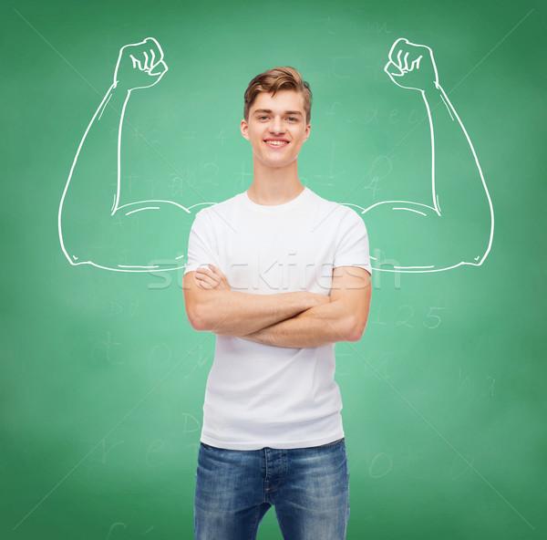 Mosolyog fiatalember fehér póló terv oktatás Stock fotó © dolgachov