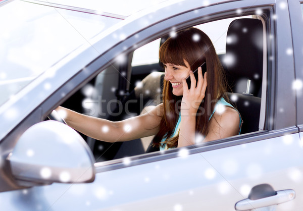 close up of woman with smartphone driving car Stock photo © dolgachov
