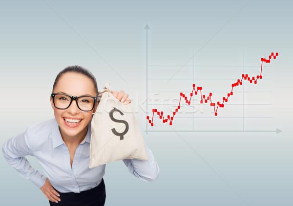 happy businesswoman holding money bag with dollar Stock photo © dolgachov
