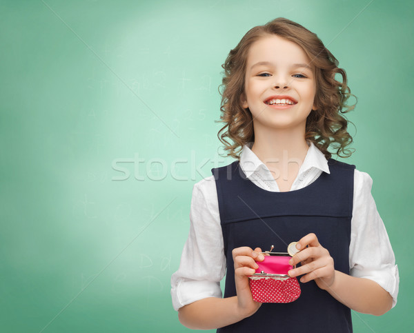 happy girl with purse and euro coin money Stock photo © dolgachov