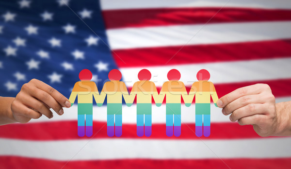 Mani Rainbow persone bandiera americana gay Foto d'archivio © dolgachov
