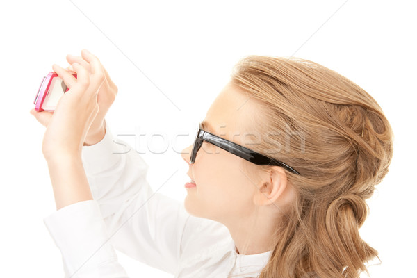 Foto stock: Menina · feliz · quadro · celular · retrato · menina