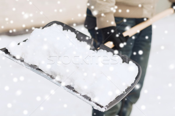 closeup of man digging snow with shovel Stock photo © dolgachov