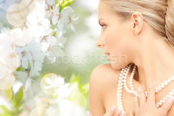 女性 真珠 ネックレス 桜 美 高級 ストックフォト © dolgachov