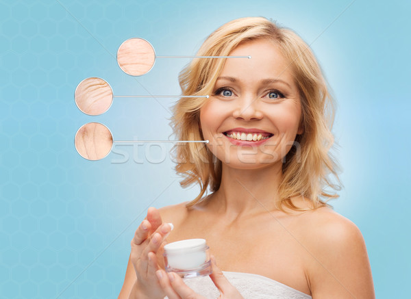happy woman with anti-aging cream jar Stock photo © dolgachov