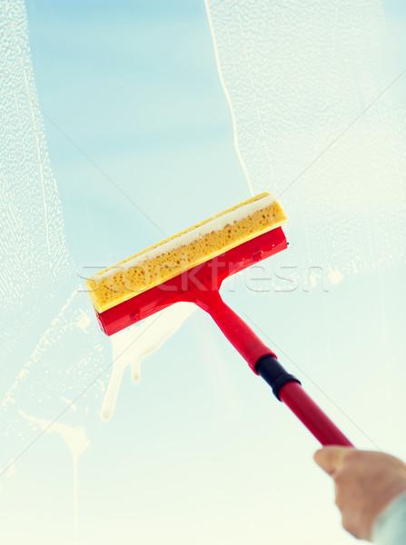 Közelkép kéz takarítás ablak szivacs emberek Stock fotó © dolgachov