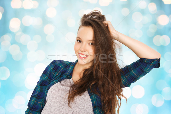 Feliz sorridente bastante pessoas cuidados com os cabelos Foto stock © dolgachov