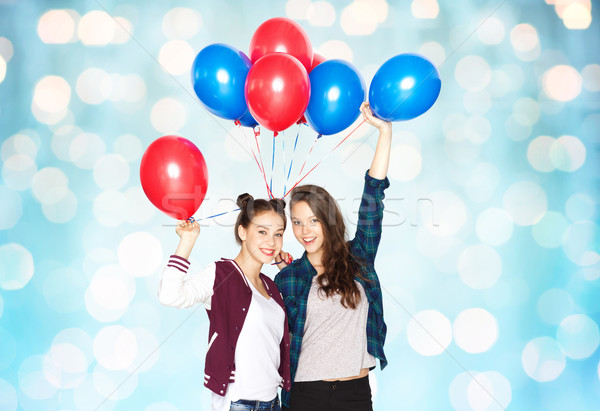 Feliz hélio balões pessoas amigos Foto stock © dolgachov
