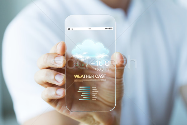 close up of hand with weather cast on smartphone Stock photo © dolgachov