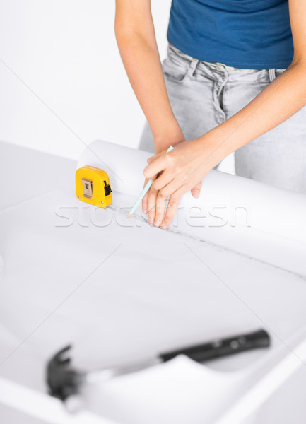 architect drawing on blueprint Stock photo © dolgachov