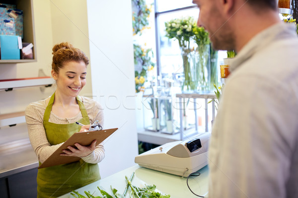 花屋 女性 男 注文 花屋 ストックフォト © dolgachov