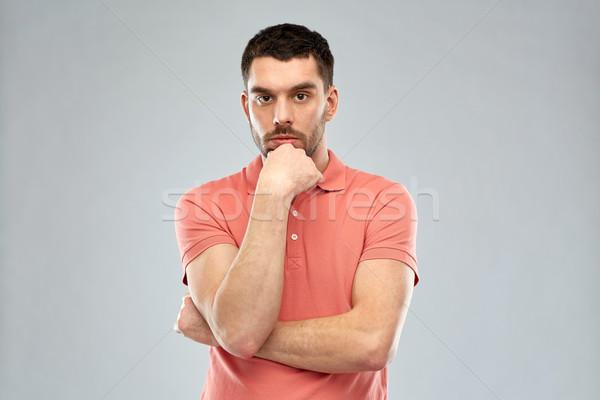 Férfi gondolkodik szürke kétség emberek komoly Stock fotó © dolgachov