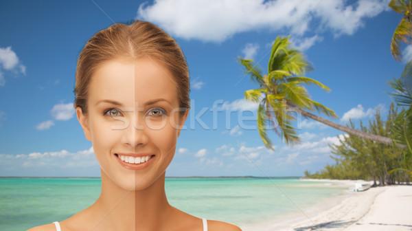 Piękna kobieta twarz opalony ludzi Zdjęcia stock © dolgachov