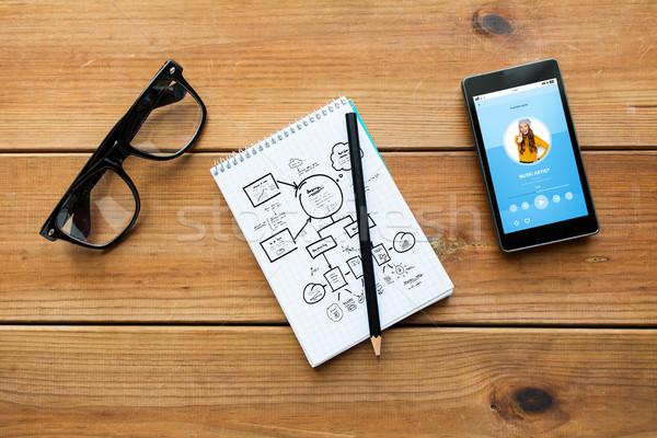 Notatnika smartphone okulary edukacji działalności Zdjęcia stock © dolgachov