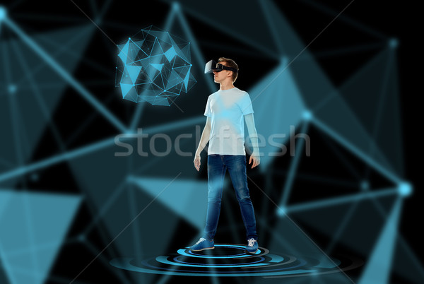Stock photo: happy man in virtual reality headset or 3d glasses