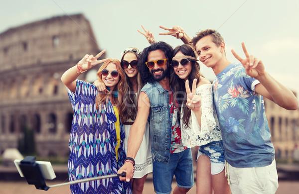 Foto stock: Hippie · amigos · vara · férias · de · verão · viajar