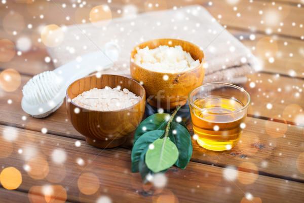 himalayan pink, honey, body scrub and bath towel Stock photo © dolgachov