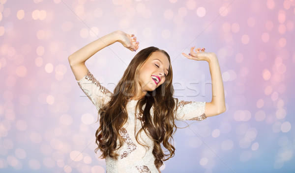 Feliz mulher jovem menina adolescente dança festa pessoas Foto stock © dolgachov