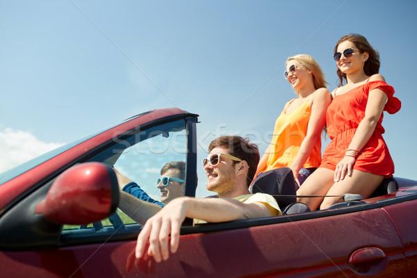 Stockfoto: Gelukkig · vrienden · rijden · kabriolet · auto · recreatie