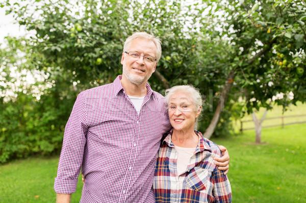 Boldog idős pár ölel nyár kert gazdálkodás Stock fotó © dolgachov