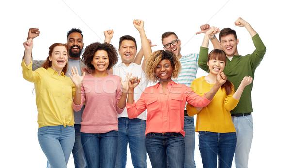 Nemzetközi csoport boldog mosolyog emberek diverzitás Stock fotó © dolgachov