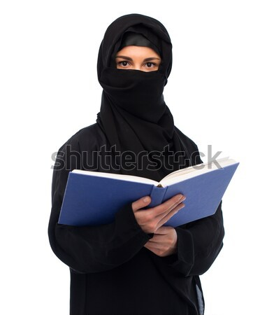 Müslüman kadın başörtüsü kitap beyaz din Stok fotoğraf © dolgachov