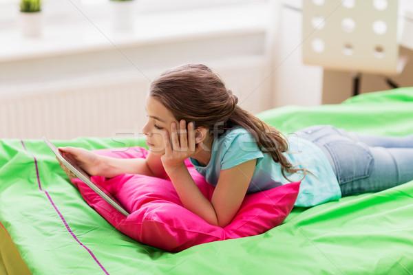 скучно девушки кровать домой детей Сток-фото © dolgachov
