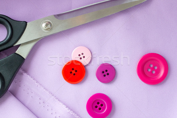 Olló varr gombok ruha kézimunka méretre szab Stock fotó © dolgachov