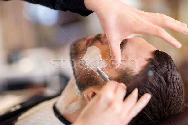 человека парикмахера прямой бритва борода люди Сток-фото © dolgachov