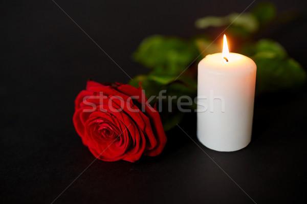 red rose and burning candle over black background Stock photo © dolgachov