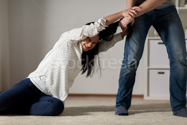 不幸 女性 ホーム 暴力 家庭内暴力 ストックフォト © dolgachov