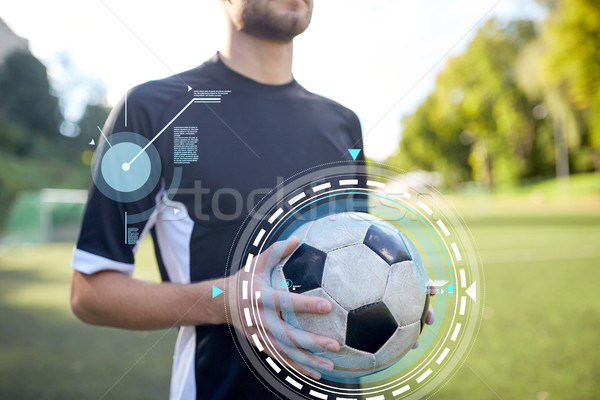 close up of soccer player with football on field Stock photo © dolgachov
