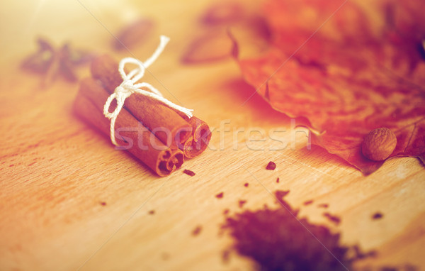 Kaneel esdoornblad amandel koken Spice Stockfoto © dolgachov