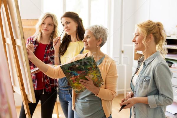 women with brushes painting at art school Stock photo © dolgachov