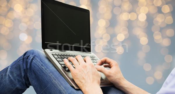 close up of man typing on laptop keyboard Stock photo © dolgachov