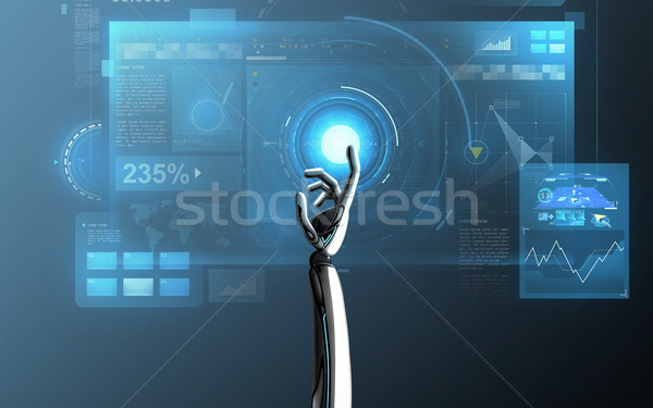 robot hand touching virtual screen over blue Stock photo © dolgachov