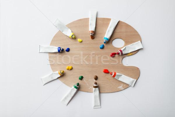 Palette acrylique couleur peinture Photo stock © dolgachov