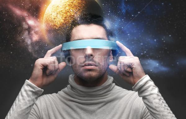 Adam 3d gözlük uzay gelecek teknoloji sanal Stok fotoğraf © dolgachov