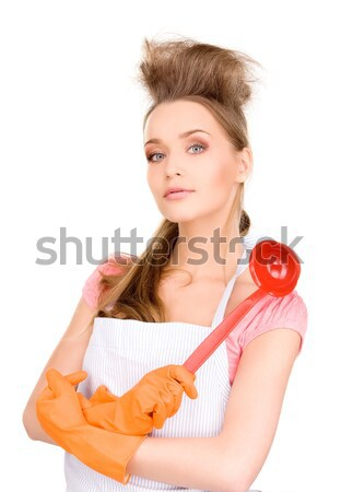 Huisvrouw Rood pollepel foto mooie oranje Stockfoto © dolgachov