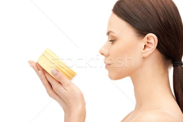 Gyönyörű nő hidratáló kép nő arc bőr Stock fotó © dolgachov