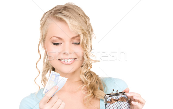 Stock photo: lovely woman with purse and money