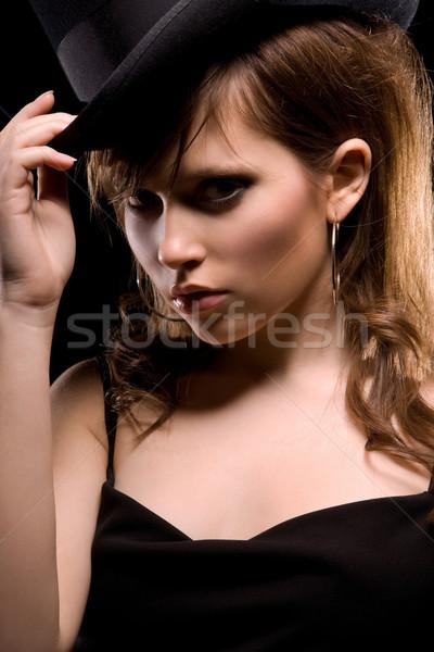 女性 黒のドレス 先頭 帽子 暗い 画像 ストックフォト © dolgachov