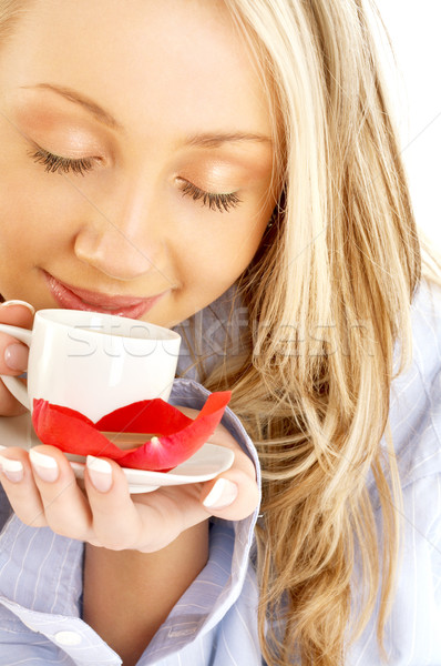 blond with cup of coffee and chocolate Stock photo © dolgachov
