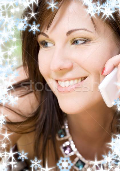 Stok fotoğraf: Kadın · beyaz · telefon · portre · mutlu · hareketli