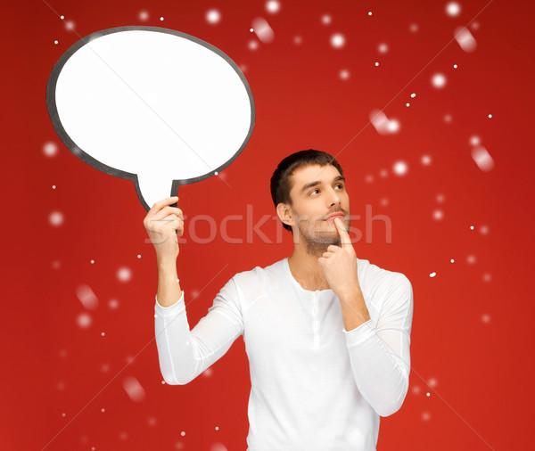 pensive man with blank text bubble Stock photo © dolgachov