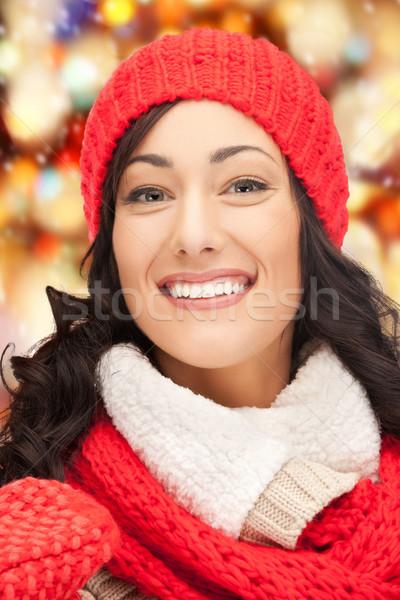 美人 帽子 マフラー ミトン 冬 休日 ストックフォト © dolgachov